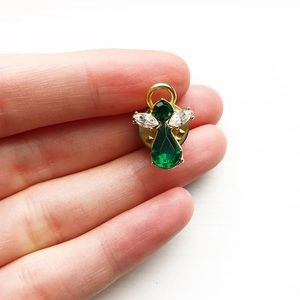 Vintage Jewelry - Vintage gold, emerald & diamond angel lapel pin